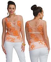 Топ оранжево-бежевый из соединенных сеткой  плотных мотивов
