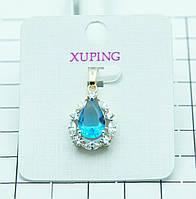 39. Бирюзовый кулон капля позолоченный Xuping (клетка 1 см).