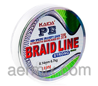Плетенка BRAID LINE KAIDA strong YX-112-10, плетеный шнур 110м толщина 0,10мм, шнур рыболовный