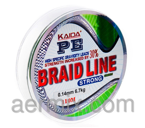 Плетенка BRAID LINE KAIDA strong YX-112-10, плетеный шнур 110м толщина 0,10мм, шнур рыболовный