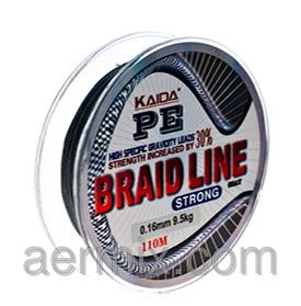 Плетенка рыболовная BRAID LINE KAIDA strong YX-112-10, шнур для спиннинга 110м толщина 0,10мм черный