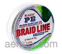 Плетенка BRAID LINE KAIDA strong YX-112-14, плетенка для спиннинга 110м толщина 0,14мм, braid line плетенка