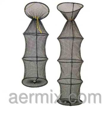 Садок рыболовный автомат 3 кольца, садок из лески для рыбалки, садок для рыбы круглый, фото 2