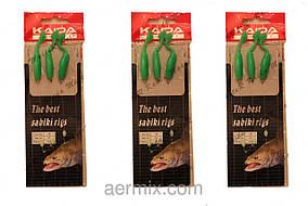 Самодур силиконовый зелёный KAIDA, оснастка рыболовная, самодур для рыбалки, рыбалка на самодур