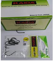 Крючки Kaida зеленые, рыболовные крючки размер 7, крючки для рыбалки в наборе 10 штук, крючки каида
