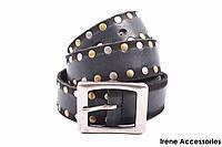 Джинсовый мужской ремень DolceGabban с заклепками кожаный, цвет серый (длина 110 см, ширина 3,5 см)