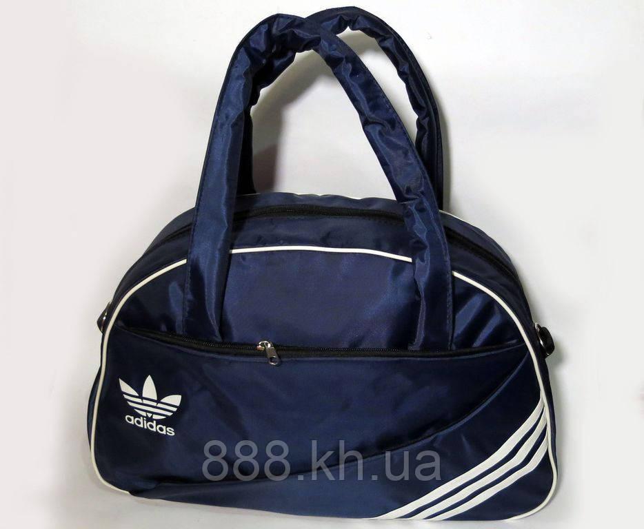 Спортивная женска сумка Adidas, фитнес сумка темно-синий  реплика