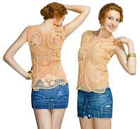 Блуза персиковая из соединенных сетчатых лоскутов