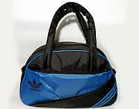 Спортивная женска сумка Adidas, фитнес сумка черный/синий  реплика, фото 1