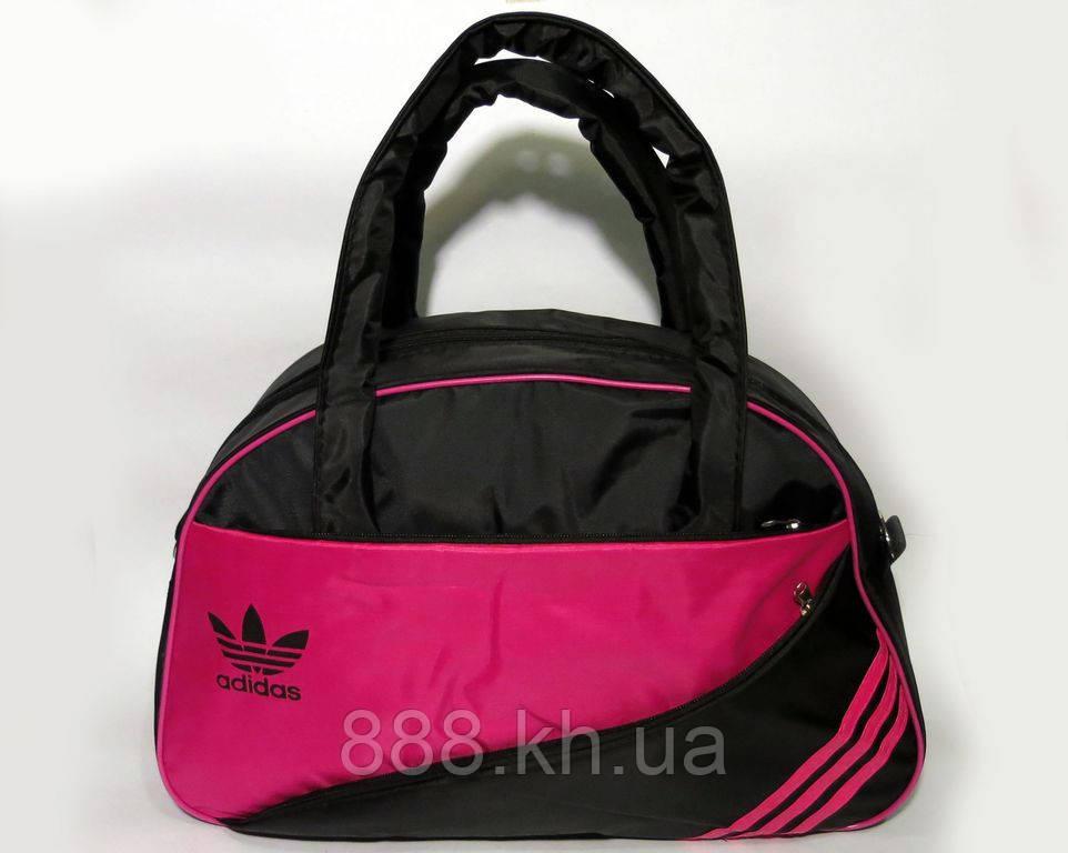 Спортивная женска сумка Adidas, фитнес сумка черный/красный  реплика