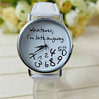 """Оригинальные модные женские часы """"Whatever I'm late anyway"""", белые"""