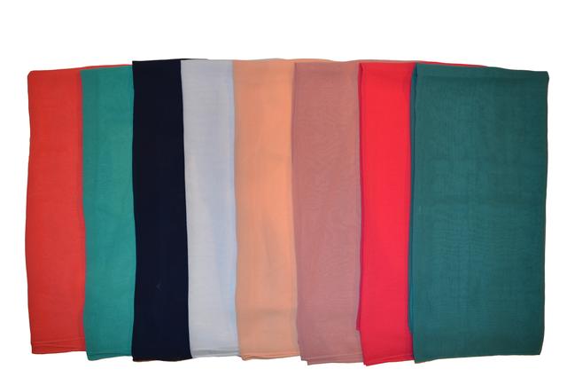 Однотонный темно-бирюзовый легкий шифоновый платок 3