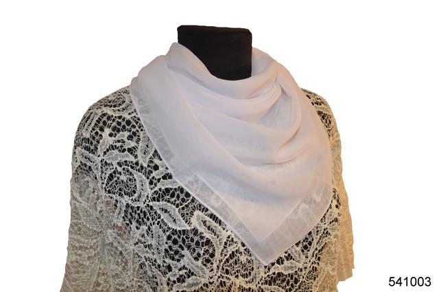 Однотонный белый легкий шифоновый платок 1