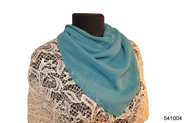 Однотонный темно-бирюзовый легкий шифоновый платок 1