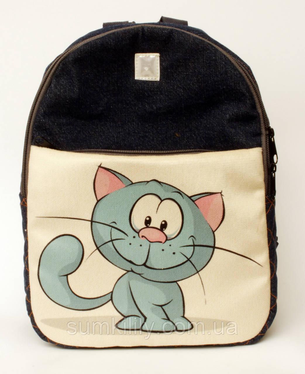 Джинсовый рюкзак синий кот