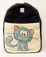 Джинсовый рюкзак синий кот, фото 1