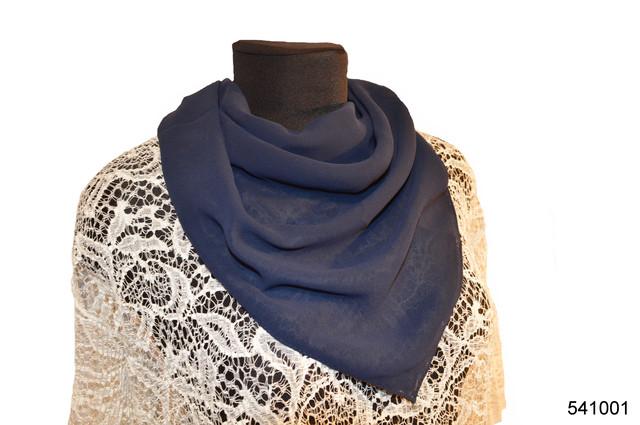 Однотонный темно-синий легкий шифоновый платок 1