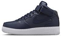 Женские высокие кроссовки Nikelab Air Force 1 Mid Leather Navy (Найк Аир Форс) синие