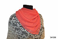 Однотонный коралловый шифоновый платок, фото 1