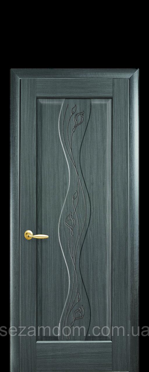 Дверь межкомнатная ВОЛНА ГЛУХОЕ С ГРАВИРОВКОЙ