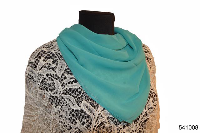 Однотонный бирюзовый легкий шифоновый платок 1