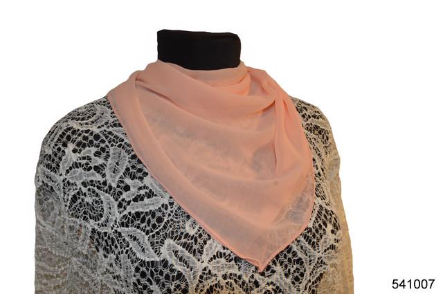 Однотонный персиковый шифоновый платок 1