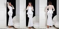 Вечернее платье с гипюром, баской и поясом WHITE