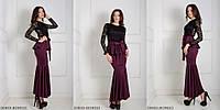 Вечернее платье с гипюром, баской и поясом BORDO