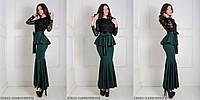 Вечернее платье с гипюром, баской и поясом DARKGREEN