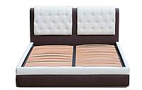 Кровать Скарлет 140х200 двуспальная кожаная с мягким изголовьем