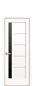 Дверь межкомнатная ГРЕТА БЕЛЫЙ МАТ. С ЧЕРНЫМ СТЕКЛОМ