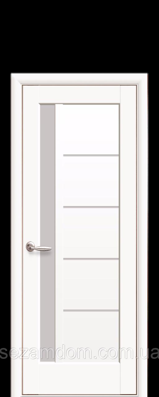 Дверь межкомнатная ГРЕТА БЕЛЫЙ МАТ. СО СТЕКЛОМ САТИН