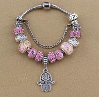 Женский браслет в стиле Пандора Хамса розовый, фото 1