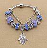 Женский браслет в стиле Пандора Хамса синий
