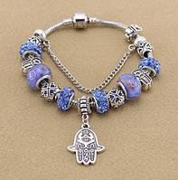 Женский браслет в стиле Пандора Хамса синий, фото 1