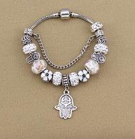 Женский браслет в стиле Пандора Хамса белый
