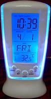 Часы-будильник Square Clock 510 с голубой подсветкой, фото 1