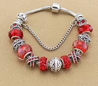 Женский браслет в стиле Пандора красный