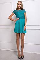 Платье с гипюром МОНИКА бирюзовое