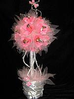 Декоративное дерево с конфетами Розовая парча
