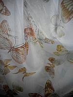 """Гардина вуаль принт """"Бабочки""""  в. 2.80 м"""