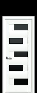 Дверь межкомнатная ПИАНА БЕЛЫЙ МАТ С ЧЕРНЫМ СТЕКЛОМ