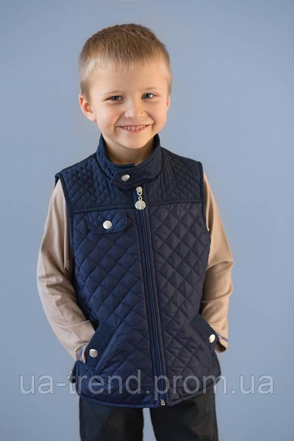 Демісезонний стьобаний жилет для хлопчика синього кольору