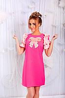 Платье Приталенное с рюшами и бантом малиновое