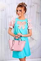 Платье Приталенное с рюшами и бантом ментоловое