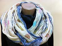 Снуд  шарф хлопковый цвет молочный в горох