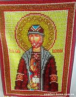 Икона вышита бисером именная Святой Олег