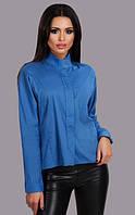 Оригинальная женская рубашка свободного фасона с удлинением сзади рукав длинный евро поплин