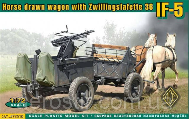 Конная повозка IF-5 с установкой Zwillingslafette 36 1/72 ACE 72510