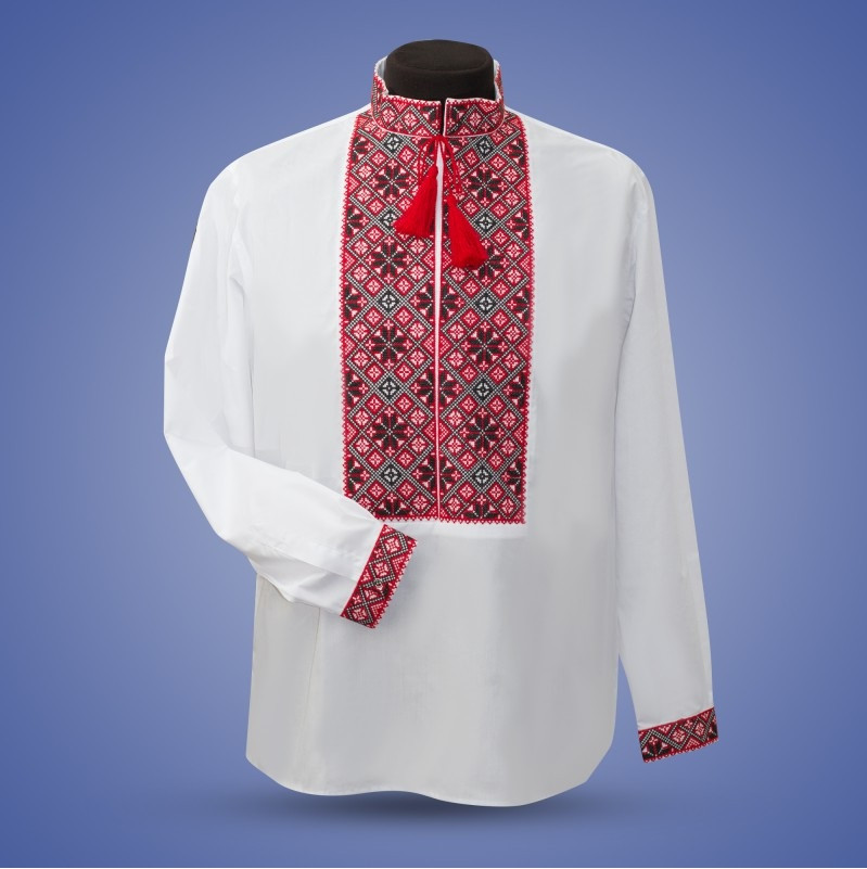 Красная мужская сорочка вышиванка из белого льна